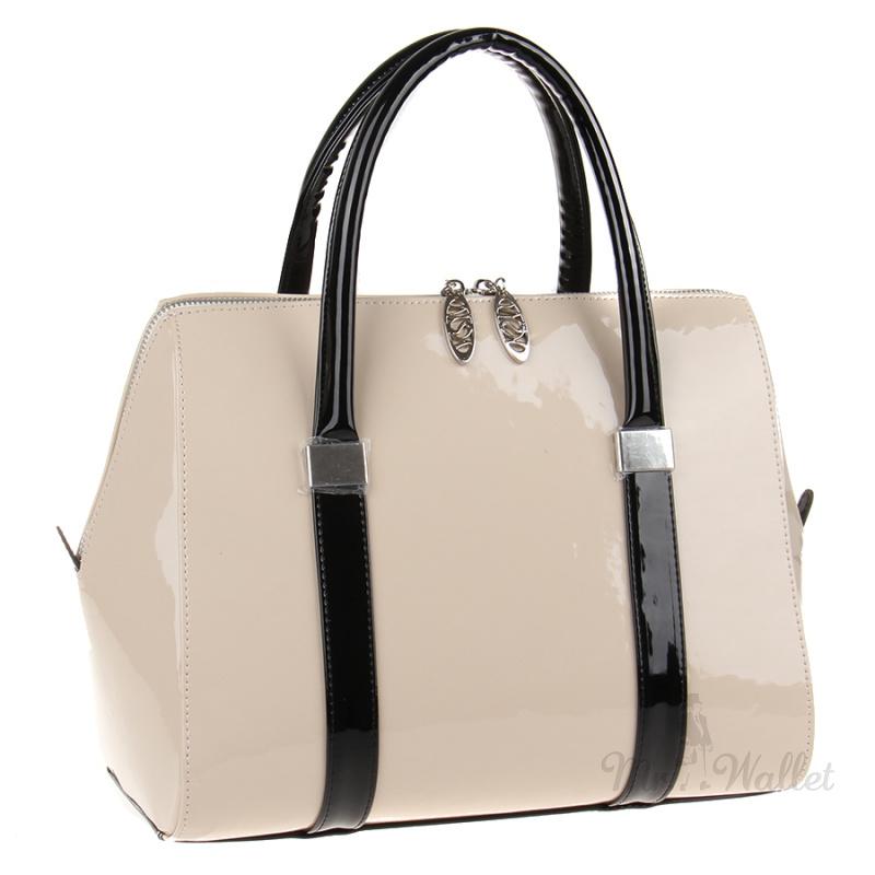 e871ec96e1c6 ᐉ Лаковая женская сумка из экокожи бежевая Venison 463-эко-5 купить ...